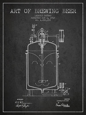 Beer Royalty-Free and Rights-Managed Images - 1918 Art of Brewing Beer Patent - Charcoal by Aged Pixel