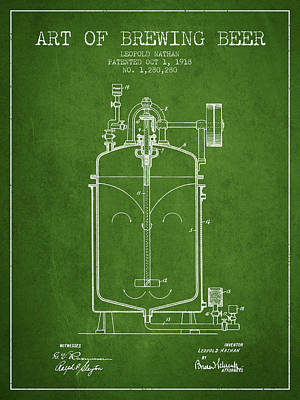 Beer Royalty-Free and Rights-Managed Images - 1918 Art of Brewing Beer Patent - Green by Aged Pixel