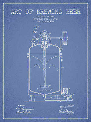 Beer Royalty-Free and Rights-Managed Images - 1918 Art of Brewing Beer Patent - Light Blue by Aged Pixel