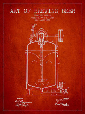 Beer Royalty-Free and Rights-Managed Images - 1918 Art of Brewing Beer Patent - Red by Aged Pixel