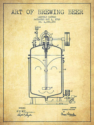 Beer Royalty-Free and Rights-Managed Images - 1918 Art of Brewing Beer Patent - Vintage by Aged Pixel