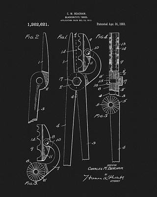 Drawing - 1918 Blacksmith's Tongs Patent by Dan Sproul