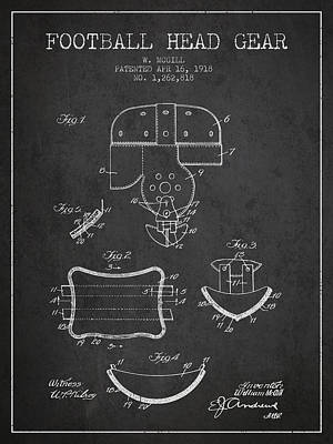 Player Drawing - 1918 Football Head Gear Patent - Charcoal by Aged Pixel