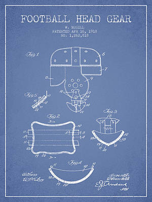 Rugby Digital Art - 1918 Football Head Gear Patent - Light Blue by Aged Pixel
