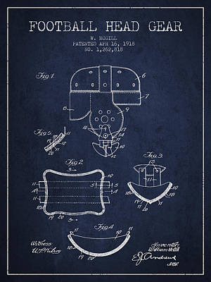 Rugby Digital Art - 1918 Football Head Gear Patent - Navy Blue by Aged Pixel