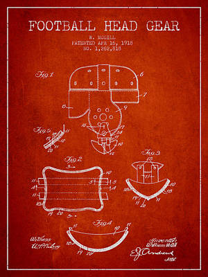 Rugby Drawing - 1918 Football Head Gear Patent - Red by Aged Pixel