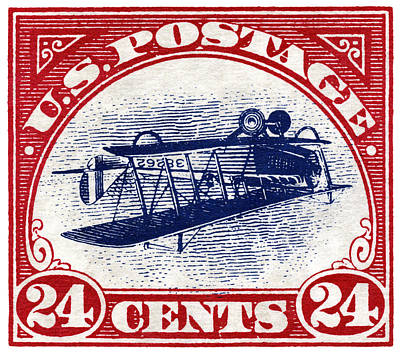 Painting - 1918 Inverted Jenny Stamp by Historic Image