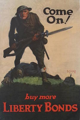 1918 Original American Ww1 Propaganda Poster, Come On Buy More Liberty Bonds By Walter Whitehead Original