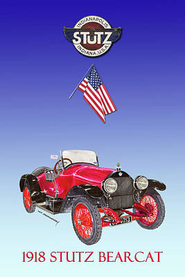 Painting - 1918 Stutz Bearcat Poster by Jack Pumphrey