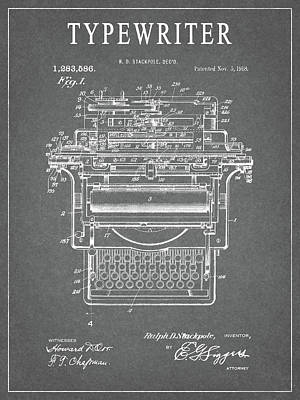 Drawing - 1918 Typewriter Design Patent by Dan Sproul
