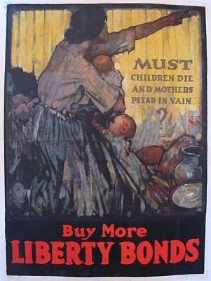 1918 Vintage American Ww1 Propaganda Poster, Must Children Die By Henry Patrick Raleigh Original
