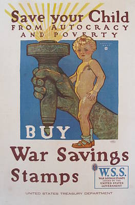 1918 Vintage American Ww1 Propaganda Poster, Save Your Child By Herbert Paus Original