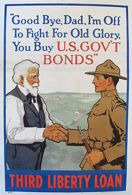 1918 Vintage Wwi Propaganda Poster, Good Bye Dad Third Liberty Loan By Lawrence Harris Original
