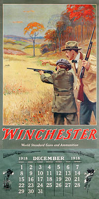 Painting - 1918 Winchester Repeating Arms And Ammunition Calendar by George Brehm
