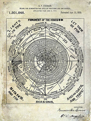 Moon And Stars Photograph - 1919 Astrology Patent by Jon Neidert