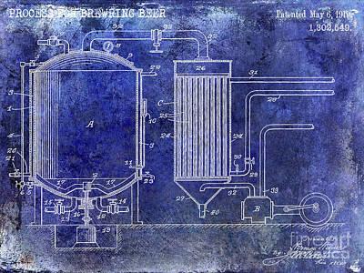 Americana Micro Art Photograph - 1919 Beer Brewing Patent Blue by Jon Neidert