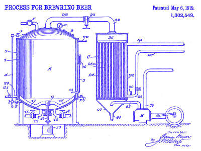 Stein Photograph - 1919 Beer Brewing Patent Blueprint by Jon Neidert