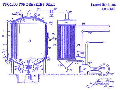 1919 Beer Brewing Patent Blueprint Art Print