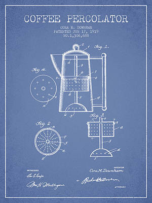 House Drawing - 1919 Coffee Percolator Patent - Light Blue by Aged Pixel