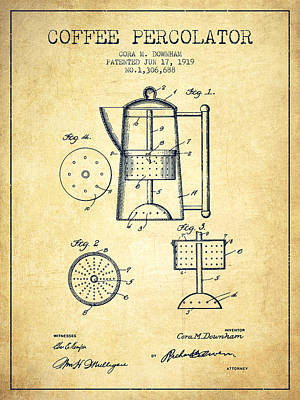Coffee Drawing - 1919 Coffee Percolator Patent - Vintage by Aged Pixel