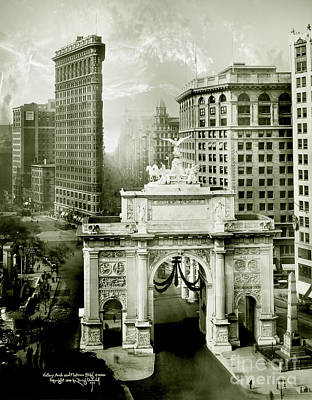 Twin Towers Photograph - 1919 Flatiron Building With The Victory Arch by Jon Neidert