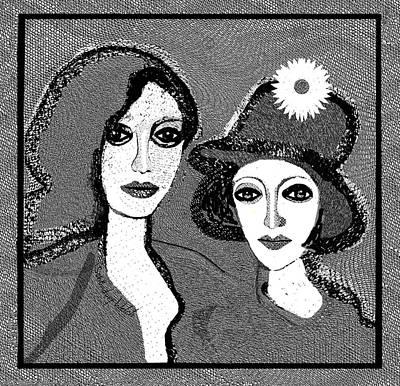 Digital Art - 1919 - Flower Hat A by Irmgard Schoendorf Welch