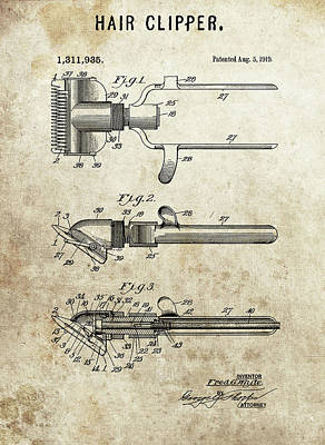 Drawing - 1919 Hair Clipper Patent by Dan Sproul