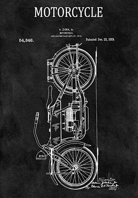 Harley Davidson Motorcycle Drawing - 1919 Harley Patent by Dan Sproul