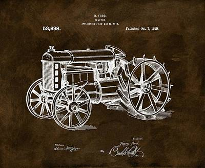 Michigan Drawing - 1919 Henry Ford Tractor Brown by Dan Sproul