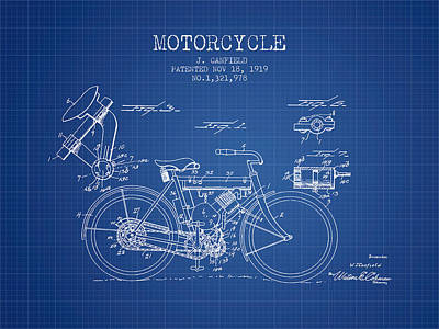 Bike Drawing - 1919 Motorcycle Patent - Blueprint by Aged Pixel