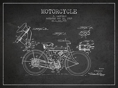 Bike Drawing - 1919 Motorcycle Patent - Charcoal by Aged Pixel