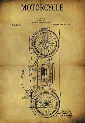 Harley Davidson Motorcycle Drawing - 1919 Motorcycle Patent by Dan Sproul