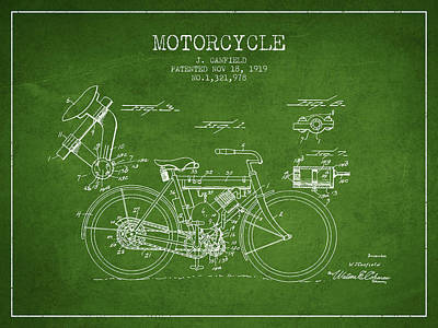 Bike Drawing - 1919 Motorcycle Patent - Green by Aged Pixel
