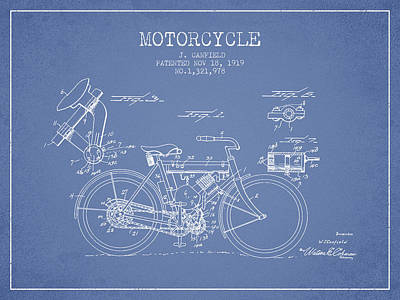 Bike Drawing - 1919 Motorcycle Patent - Light Blue by Aged Pixel