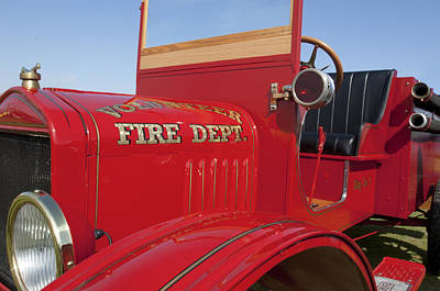 1919 Volunteer Fire Truck Print by Jill Reger