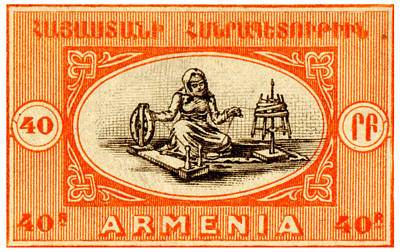 Painting - 1920 Armenian Woman Spinning Stamp by Historic Image