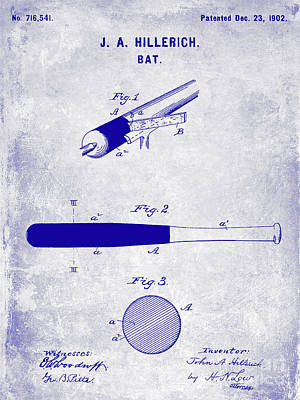 1920 Baseball Bat Patent Blueprint Art Print by Jon Neidert