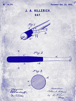 Ny Yankees Photograph - 1920 Baseball Bat Patent Blueprint by Jon Neidert