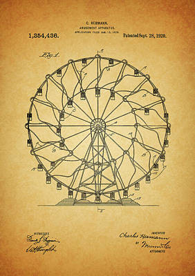 Mixed Media - 1920 Ferris Wheel Patent by Dan Sproul