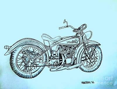 1920 Indian Motorcycle - Blue Abstract Background Original