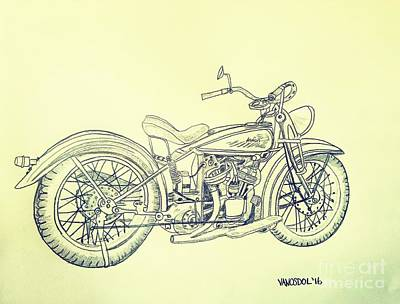 1920 Indian Motorcycle Graphite Pencil - Aged  Original