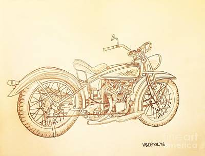 1920 Indian Motorcycle Graphite Pencil - Sepia Print by Scott D Van Osdol