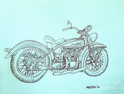 1920 Indian Motorcycle Graphite Pencil Sketch - Blue Background Original