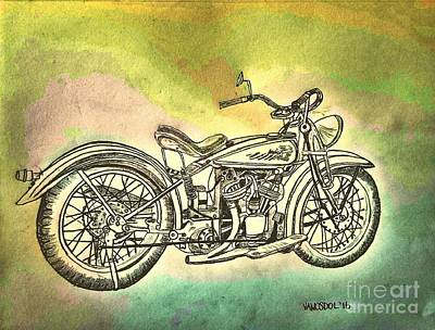 1920 Indian Motorcycle Graphite Pencil - Watercolor Art Print