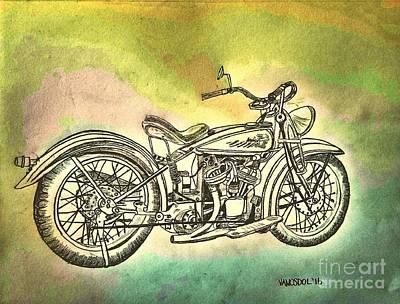 1920 Indian Motorcycle Graphite Pencil - Watercolor Original