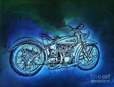 1920 Indian Motorcycle - Midnight Ride Print by Scott D Van Osdol