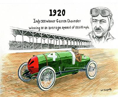 1920 Indy 500 Winner Gaston Chevrolet Art Print by Jeff Blazejovsky