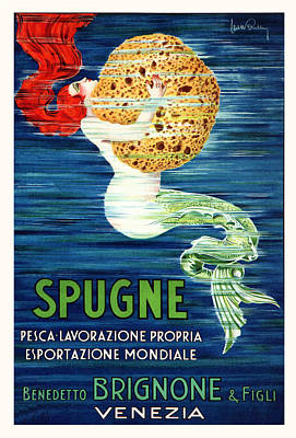 Mythology Painting - 1920 Italian Mermaid With Sponge Advertising Poster by Retro Graphics
