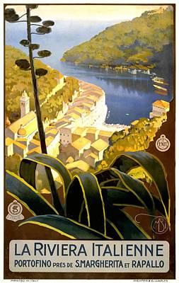 Portofino Digital Art - 1920 Italian Riviera Travel Poster by Retro Graphics