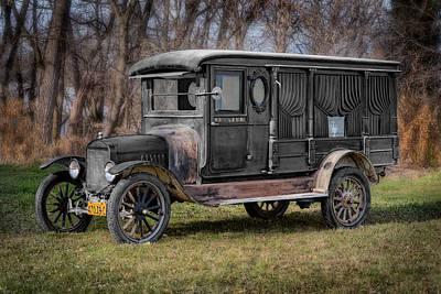 Dining-room Photograph - 1920 Model T Carved Back Hearse by Patrick Chuprina